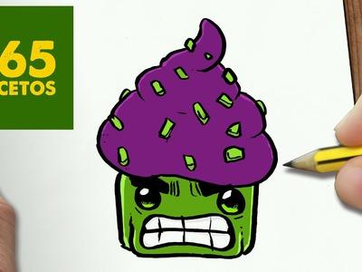 COMO DIBUJAR HULK CUPCAKE KAWAII PASO A PASO - Dibujos kawaii faciles - How to draw HULK CUPCAKE