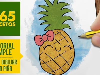 COMO DIBUJAR UNA PIÑA KAWAII PASO A PASO - Dibujos kawaii faciles - How to draw a pineapple