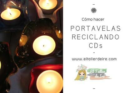 Cómo hacer portavelas reciclando CDs