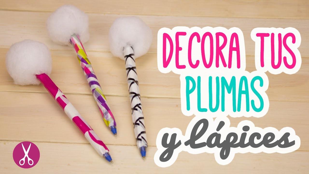 Diy decora tus bol grafos plumas con pompones mini tip - Hacer boligrafos en casa ...