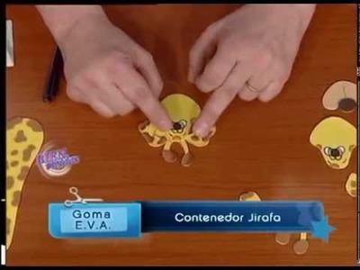 Jorge Rubbice  - Bienvenidas TV -  Realiza un Contenedor Jirafa en Goma EVA Cotillón.