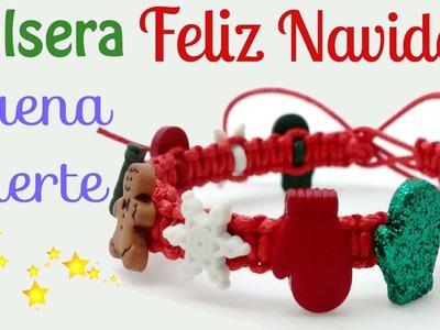 Pulsera Feliz Navidad Buena Suerte. Merry Christmas Bracelet Good Luck.