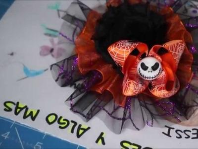 Como hacer un moño de organza o Como hacer un moño para Halloween!! DIY :) [7]