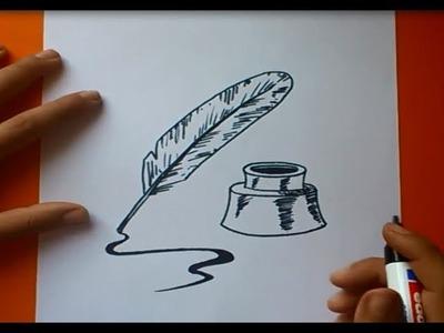 Como dibujar una pluma paso a paso | How to draw a quill