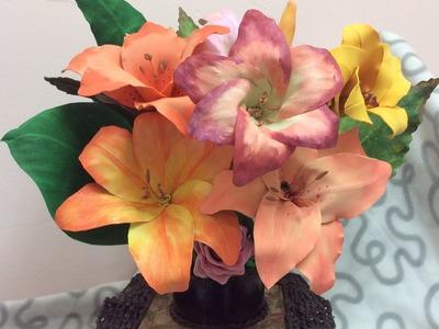 Como hacer Flores azucenas con Goma Eva o Fomi - How to make Azucenz flower with Goma Eva