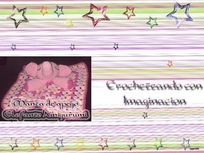 Mantita de apego Elefante Amigurumi (orejas y trompa)