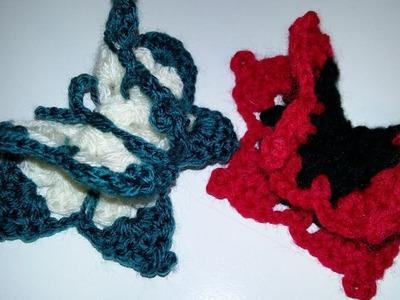 """DY""Tutorial Mariposa en 3 D a Crochet,muy fácil de realizar"