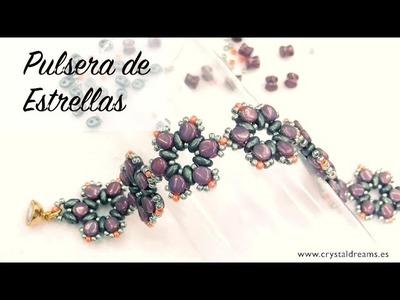 Pulsera de Estrellas con Superduo y Pellet Beads