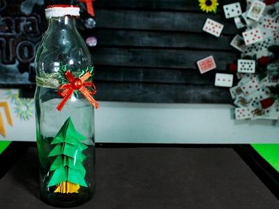 Arbol de navidad de origami en una botella - parte 2