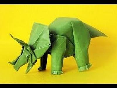 Origami Triceratops dinosaurio - Como hacer Triceratops dinosaur origami