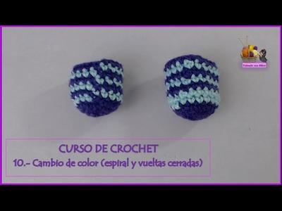 Curso de crochet: 10.- Cambiar de color en espiral y en vueltas cerradas