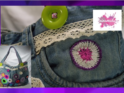 "DIY. Bolso ""Tote"" con vaqueros reciclados. Tote bag with recycled jeans"
