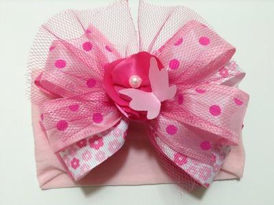 Tiara para bebe color rosa fuerte y pastel VIDEO No. 287