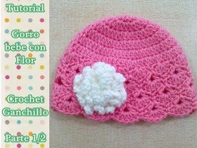 Como hacer gorro bebe con flor crochet ganchillo (1.2)