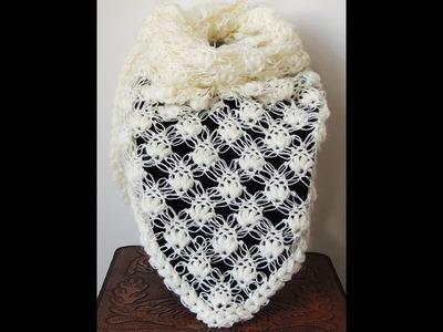 Crochet : Punto Esponjoso y Salomon. Chal en V.  Parte 2 de 2