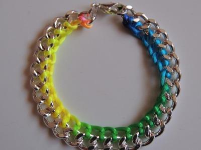 DIY Tutorial Pulsera fluor con cadena y cola de raton (Video mejorado) Bracelet chain fluor.