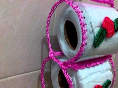 Porta papel higiénico a crochet