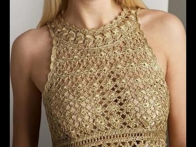 Vestido Dorado Eva Tejido a Crochet