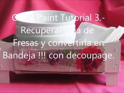 Chalk paint .Tutorial 3 . DIY.Decorar una caja.bandeja con la chalk y decoupage