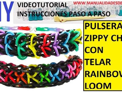 COMO HACER PULSERA DE GOMITAS MODELO ZIPPY CHAIN EN TELAR RAINBOW LOOM TUTORIAL ESPAÑOL DIY