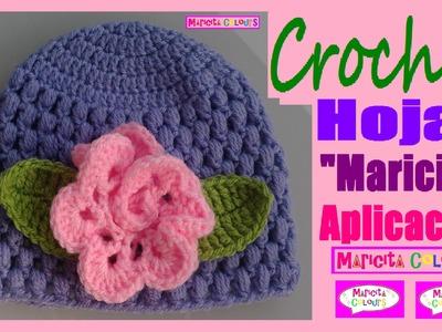 "Crochet ""Hojas Maricita"" decorar Diademas, Gorros, Sweater etc. Por Maricita Colours"