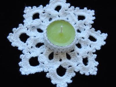 Crochet : Portavela Navideño.  Parte 2 de 2