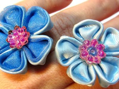 #DIY: Cómo hacer anillos con flores de cinta. How to make ribbon flowers rings