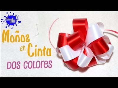 Manualidades - Crafts - como hacer un moño cinta de papel de dos colores - wrapping gifts
