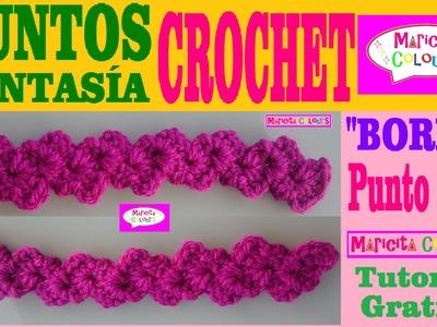Punto Fantasía # 3 Tutorial Crochet Borde, Esquinero, Adorno, Orilla, Cenefa por Maricita Colours