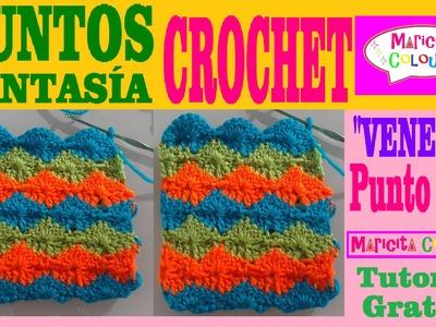 """Punto Fantasía # 7 Tutorial Crochet """"Venecia"""" (Parte 1) por Maricita Colours"""