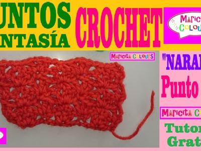 "Punto Fantasía # 8 Tutorial Crochet ""Naranja"" por Maricita Colours"