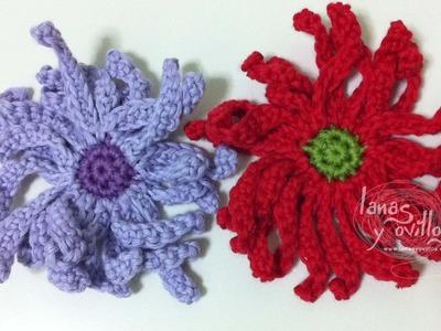 Tutorial Flor Margarita Crochet o Ganchillo Daisy (English subtitles)