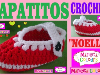"Zapatitos Bebé Escarpines ""Noelle"" (Parte 1)  Crochet Tutorial  por Maricita Colours"