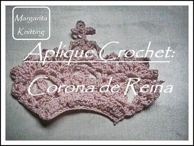 Aplique crochet: corona de reina (diestro)