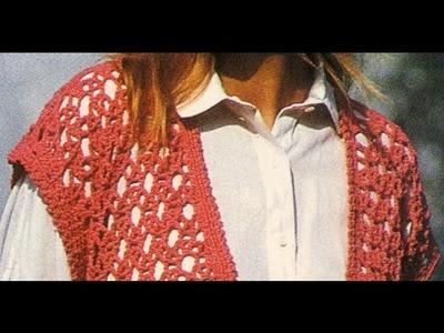 Chaleco rojo abierto puntada calada a crochet