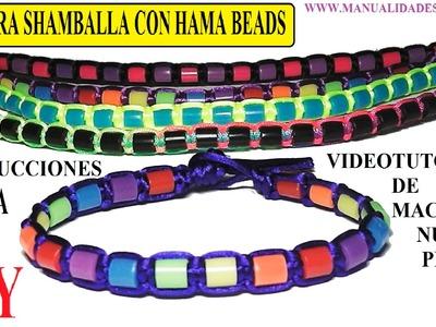 Como hacer pulsera estilo shamballa de hilo y hama beads con nudos planos simples de macrame