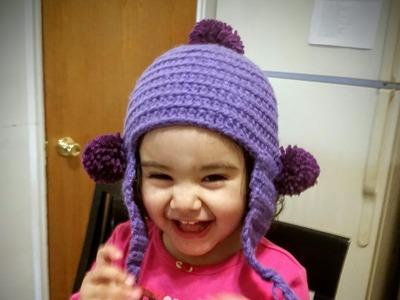 Como tejer gorro en crochet para niña #2 pompones.