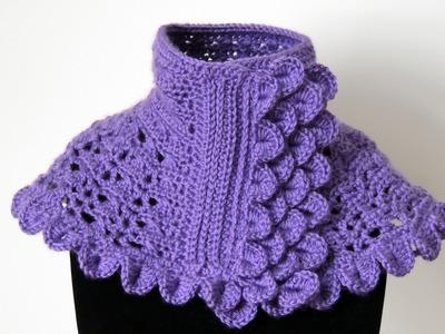 Crochet : Cuello en Morado #1.  Parte  3