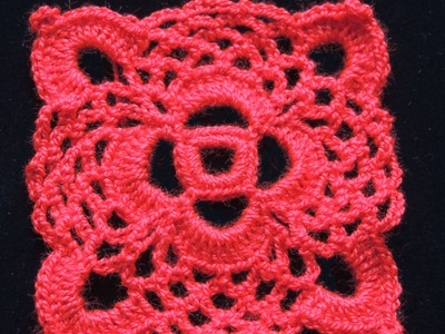 Crochet : Motivo Cuadrado # 1.  Parte 1 de 2