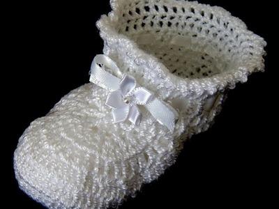 Crochet : Zapatito de Bebé.  Parte 2 de 2