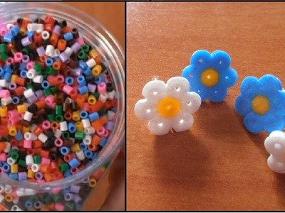 Hama beads. Pendientes de Flores.