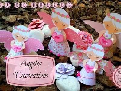 Como Decorar Mesa de dulces Scrapbook, Angeles decorativos  Paso a Paso