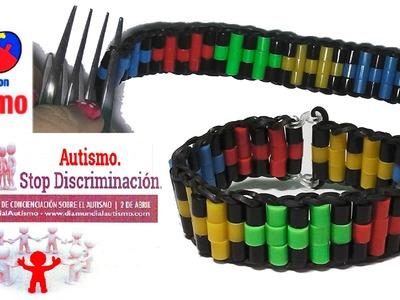 Como hacer una pulsera con gomitas y hama beads  o abalorios sin telar, con dos tenedores