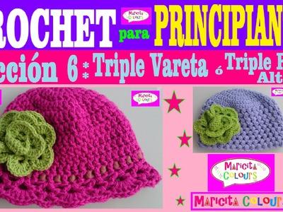 """Crochet para Principiantes (Lección 6) """"Triple Vareta"""" por Maricita Colours"""