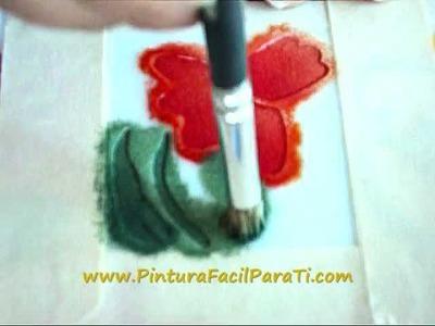 Pintura de Flores 04 Pintura en Tela - Pintura Facil Para Ti.wmv