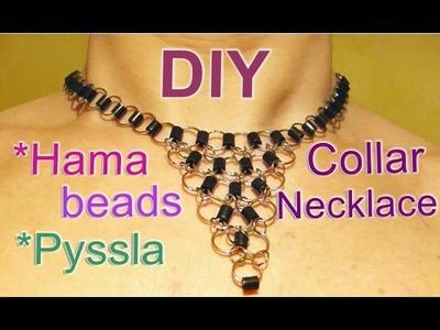 Collar con Hama beads y anillas. Perler beads & jump rings necklace.