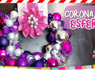 ❥DIY Christmas Ornament. Corona de esferas