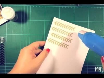 Scrapbook - Embossing con Zing purpurina dorada - Papel Creativo