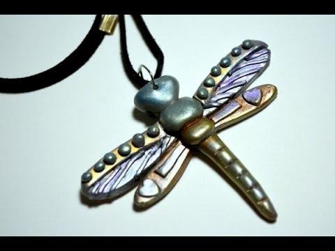 Colgante libélula en arcilla polimérica - Polymer clay dragonfly pendant