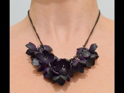 Collar de flores en arcilla polimérica - Polymer clay flower necklace